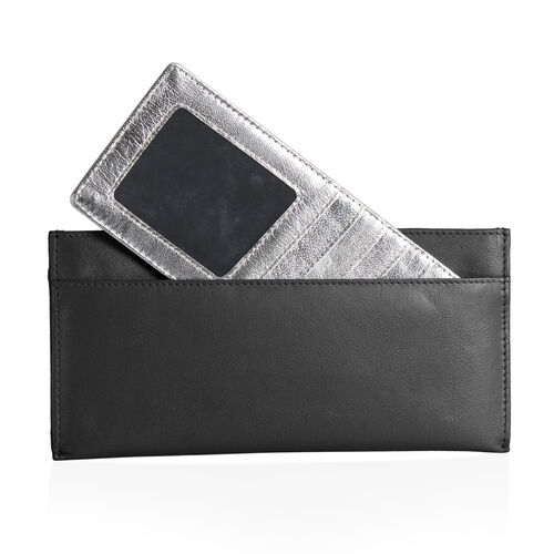 100% Genuine Leather RFID Blocker Black Colour Wallet (Size 20x8 Cm) with Card Holder
