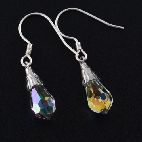J Francis Crystal From Swarovski - AB Crystal Drop Hook Earrings in Rhodium Plated Sterling Silver