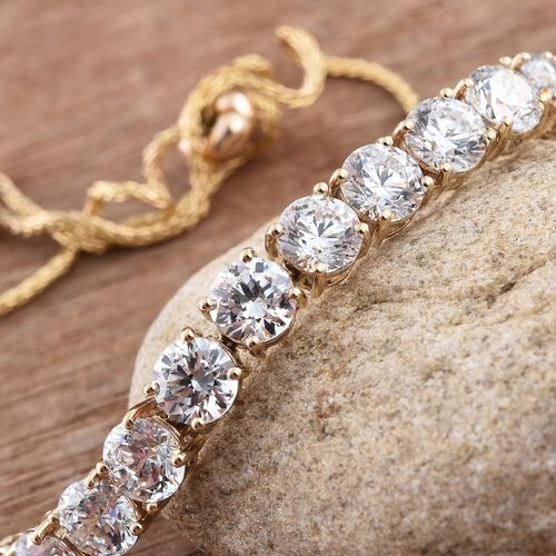 J Francis - 9K Yellow Gold (Rnd) Adjustable Bracelet (Size 6.5 to 9.5) Made with SWAROVSKI ZIRCONIA