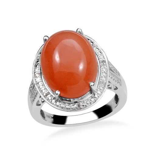 Mitiyagoda Peach Moonstone (Ovl 11.50 Ct), Diamond Ring in Platinum Overlay Sterling Silver 11.550 Ct.