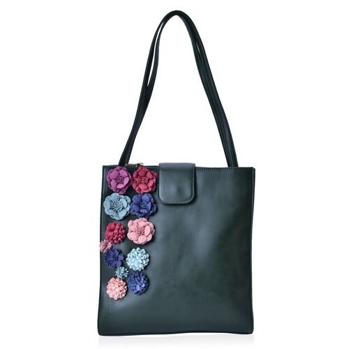 (LIMITED COLLECTION )Multi Colour 3D Floral Pattern Green Colour Tote Bag with Buckle Flap (Size 30x27x8 Cm)