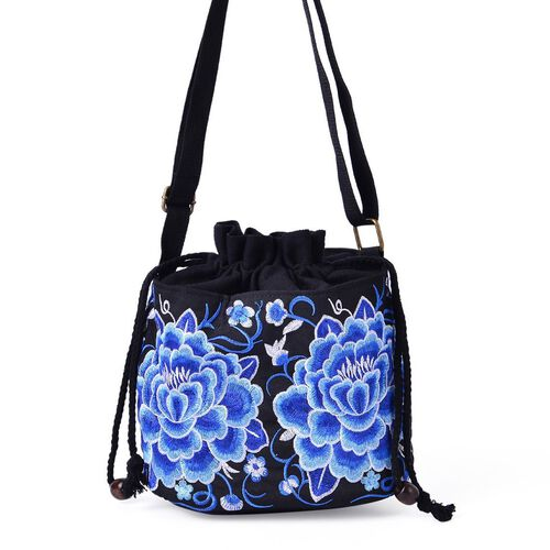 Shanghai Collection Blue and White Colour Floral Pattern Black Colour Crossbody Bag with Adjustable Shoulder Strap (Size 19.5x16.5x13 Cm)