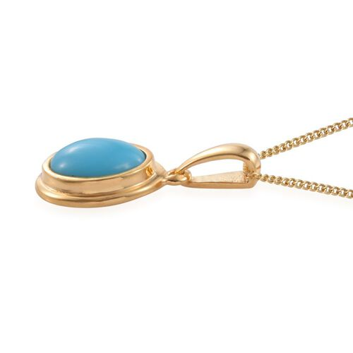 Arizona Sleeping Beauty Turquoise (Ovl) Solitaire Pendant With Chain in 14K Gold Overlay Sterling Silver 2.250 Ct.