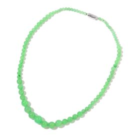 Rare AAA Green Jade Graduated Bead Necklace (Size 20) with Magnetic Clasp Lock in Rhodium Plated Sterling Silver 209.000 Ct.