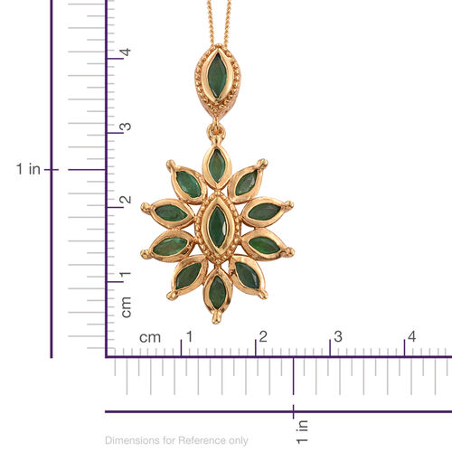Kagem Zambian Emerald (Mrq) Pendant with Chain in 14K Gold Overlay Sterling Silver 2.000 Ct.