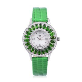 EON 1962 Swiss Movement MOP Dial Russian Diopside (4.50 Ct) Watch with Green Leather Strap (Size 6.5 to 8.25)