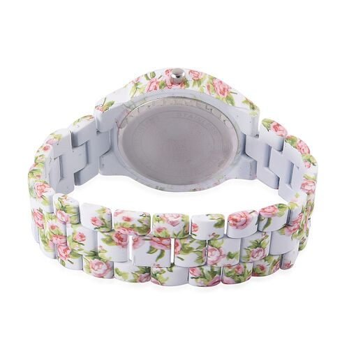 STRADA Japanese Movement Floral White Dial Water Resistant Watch with Stainless Steel Back and Floral Pattern White Strap