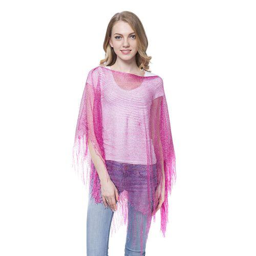 Pink Colour Net Poncho (Size 150x45 Cm) and White Colour Vest (Size 60x55 Cm)
