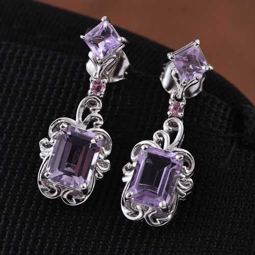 Stefy Rose De France Amethyst (Oct), Pink Tourmaline and Pink Sapphire Earrings (with Push Back) in Platinum Overlay Sterling Silver 3.250 Ct.