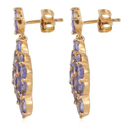 Tanzanite (Ovl) Earrings (with Push Back) in 14K Gold Overlay Sterling Silver 3.250 Ct.