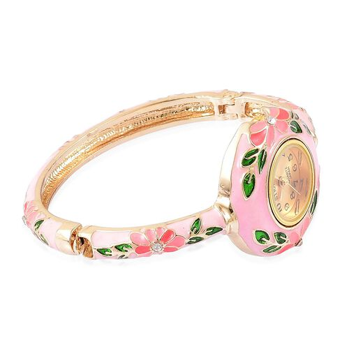 STRADA Japanese Movement Gold Tone Bangle Watch with Austrian Crystal