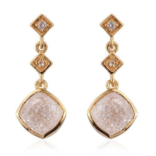 White Crackled Quartz (Cush), White Topaz Earrings (with Push Back) in 14K Gold Overlay Sterling Silver 4.250 Ct.