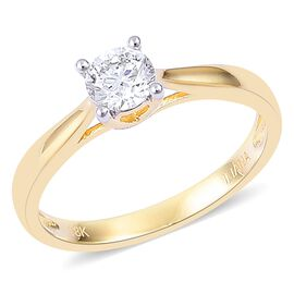 ILIANA 18K Yellow Gold 0.50 Ct Diamond Solitaire Ring IGI Certified (SI/H)