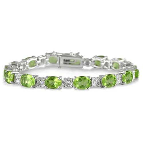 AA Hebei Peridot (Ovl), White Topaz Bracelet in Rhodium Plated Sterling Silver (Size 7) 31.000 Ct.