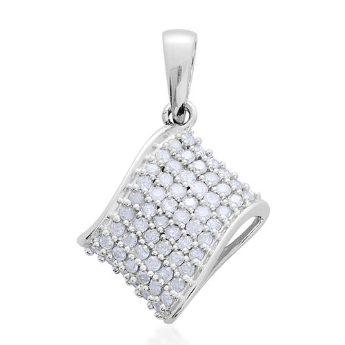 9K W Gold SGL Certified Diamond (Rnd) (I 3/G-H) Cluster Pendant 0.500 Ct.
