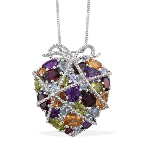 GP Rhodolite Garnet (Ovl), Citrine, Amethyst, Hebei Peridot and Multi Gemstone Pendant With Chain in Platinum Overlay Sterling Silver 9.012 Ct.
