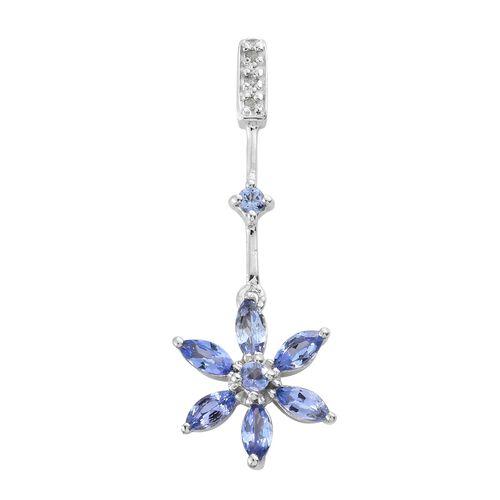 Tanzanite (Mrq), Diamond Floral Pendant in Platinum Overlay Sterling Silver 1.020 Ct.