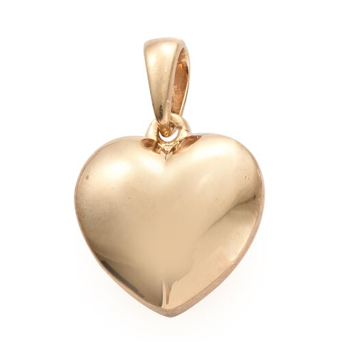 14K Gold Overlay Silver Heart Pendant, Silver wt. 2.18 Gms.