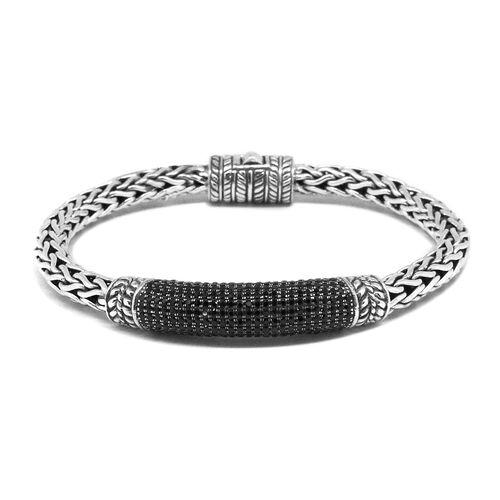 Designer Inspired - Boi Ploi Black Spinel (Rnd) Bangle (Size 7.5) in Sterling Silver No. of Gemstones 570pcs / Silver wt 34.00 Gms.