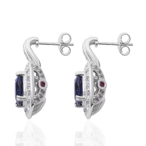 Madagascar Blue Sapphire (Cush 9x9 mm), Natural White Cambodian Zircon and Burmese Ruby Earrings (with Push Back) in Rhodium Plated Sterling Silver 11.00 Cts. Silver wt 7.60 Gms.