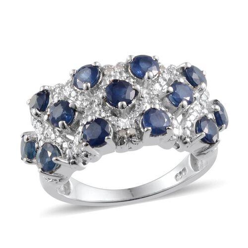 Kanchanaburi Blue Sapphire (Rnd), Diamond Ring in Platinum Overlay Sterling Silver 2.800 Ct.