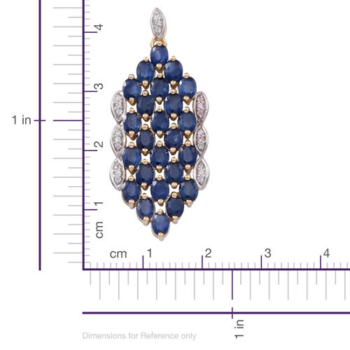 9K Y Gold Kanchanaburi Blue Sapphire (Ovl), Natural Cambodian White Zircon Cluster Pendant 6.000 Ct.