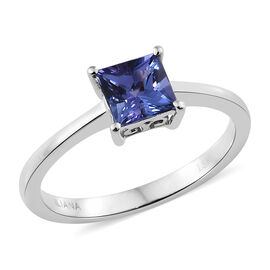 ILIANA Rare Princess Cut 1 Carat AAA Tanzanite Solitaire Ring in 18K White Gold