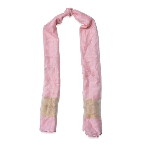 Pink and Golden Colour Scarf (Size 180x70 Cm)