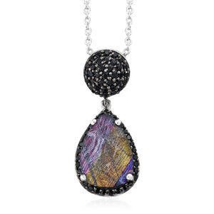 Spectrolite (Pear 2.85 Ct), Boi Ploi Black Spinel Drop Pendant with Chain in Platinum Overlay Sterling Silver 3.750 Ct.