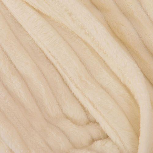 Superfine Ivory Colour Microfiber Corduroy Plush Blanket 150x200 cm