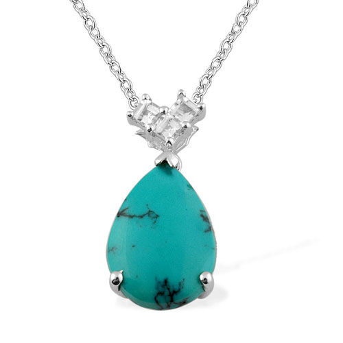 Turquoise (3.75 Ct), White Topaz Platinum Overlay Sterling Silver Pendant With Chain 4.000 Ct.
