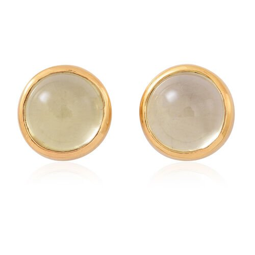 One Time Deal-Lemon Quartz (Rnd) Stud Earrings (with Push Back) in 14K Gold Overlay Sterling Silver 8.500 Ct.