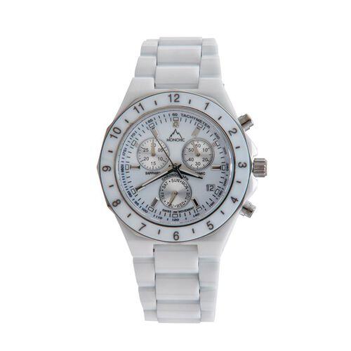 Monchic Diamond Steel Mix Metal Watch  0.005  Ct.