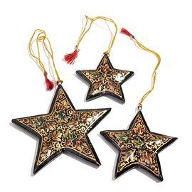 (Option 1) Christmas Decorations - Set of 3 Black Colour Paper Mache Hanging Christmas Stars