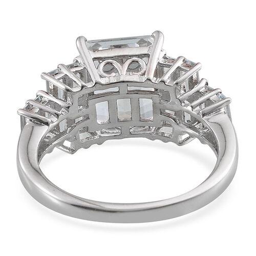 Espirito Santo Aquamarine (Oct 2.25 Ct) Ring in Platinum Overlay Sterling Silver 3.500 Ct.