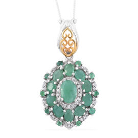 Brazilian Emerald (Ovl), Natural Cambodian Zircon Pendant with Chain in Platinum and Yellow Gold Overlay Sterling Silver 3.000 Ct.