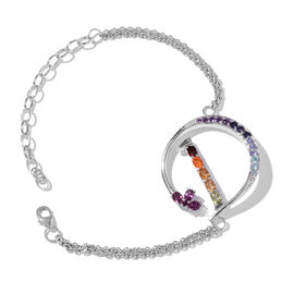 Paraiba Apatite (Rnd), Rhodolite Garnet, Citrine, Iolite, Jalisco Fire Opal, Tanzanite and Multi Gemstone Initial D Bracelet (Size 9 with Extender) in Platinum Overlay Sterling Silver 1.774 Ct.