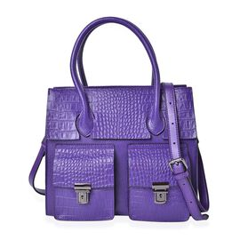 Genuine Leather Purple Colour Croc and Ostrich Embossed Tote Bag with External Zipper Pocket and Adjustable and Removable Shoulder Strap (Size 28x25.5x12 Cm)