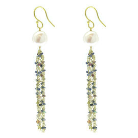 Fresh Water Pearl and Multi Sapphire Hook Earrings in Yellow Gold Overlay Sterling Silver 9.000 Ct.