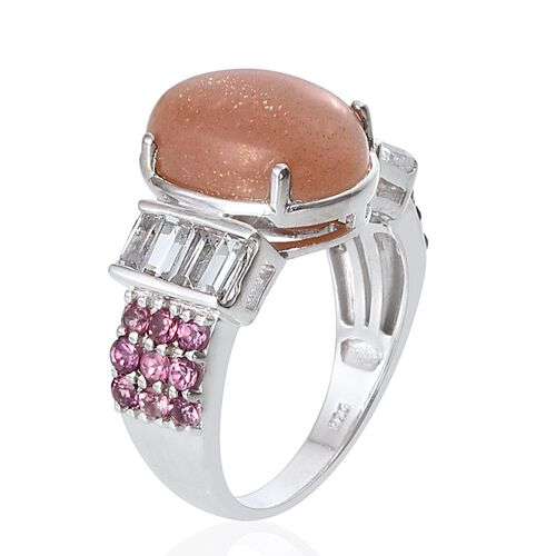 Morogoro Peach Sunstone (Ovl 6.25 Ct), Rhodolite Garnet and White Topaz Ring in Platinum Overlay Sterling Silver 8.250 Ct.