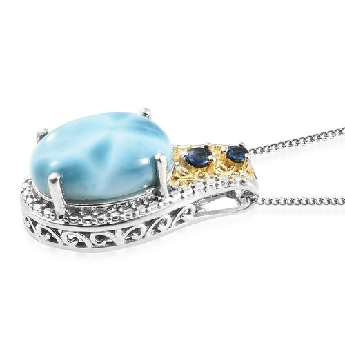 Larimar (Ovl), Kanchanaburi Blue Sapphire Pendant with Chain in Platinum Overlay Sterling Silver 6.000 Ct.