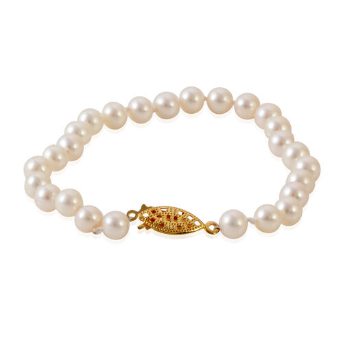 Close Out Deal Fresh Water Pearl Necklace (Size 18) and Bracelet (Size 7.50) in Yellow Gold Bond