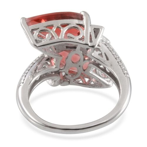 Padparadscha Colour Quartz (Pear), Diamond Crossover Ring in Platinum Overlay Sterling Silver 7.300 Ct.