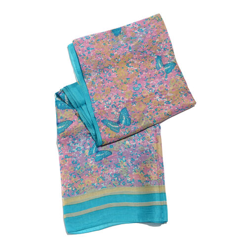 100% Mulberry Silk Vivid Blue Butterfly Printed Multi Colour Scarf (Size 180x100 Cm)