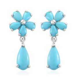 Arizona Sleeping Beauty Turquoise (Pear) Floral Earrings (with Push Back) in Platinum Overlay Sterling Silver 4.400 Ct.