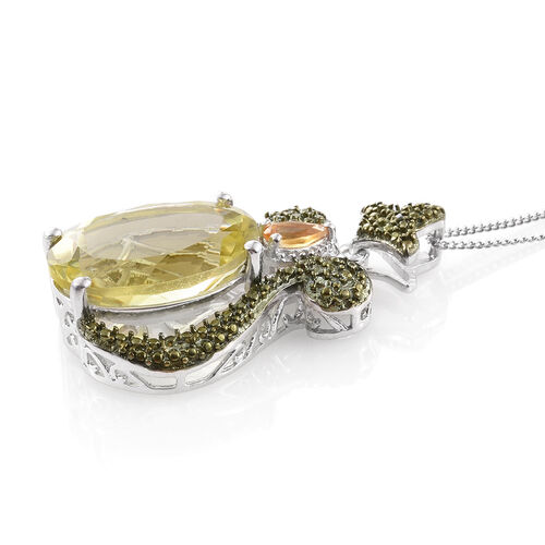 Natural Green Gold Quartz (Ovl), Citrine and Green Diamond Pendant With Chain in Platinum Overlay Sterling Silver 8.500 Ct. Silver wt 5.06 Gms.