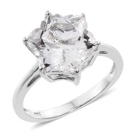 Limited Edition- White Topaz STELLARIS CUT Ring in Platinum Overlay Sterling Silver 8.750 Ct.