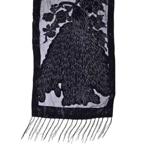 Designer Inspired - Black and Grey Colour Peacock and Floral Pattern Scarf with Tassels (Size 158X50 Cm)