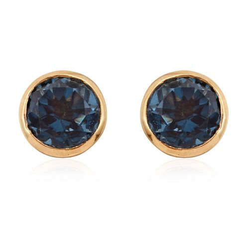 Indicolite Quartz (Rnd) Stud Earrings (with Push Back) in 14K Gold Overlay Sterling Silver 4.750 Ct.