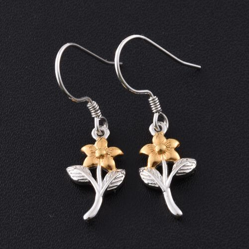 Platinum and Yellow Gold Overlay Sterling Silver Floral and Leaves Hook Earrings
